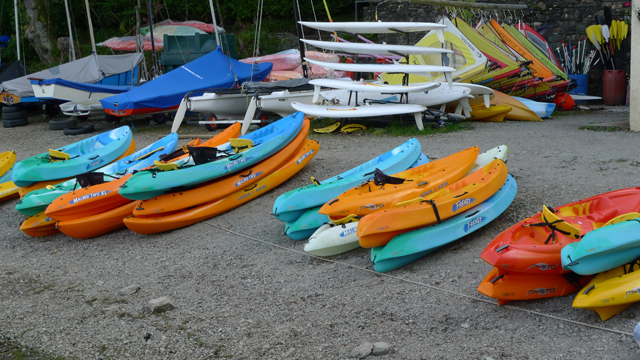 Canoes stored on the lakeside at Nichol End