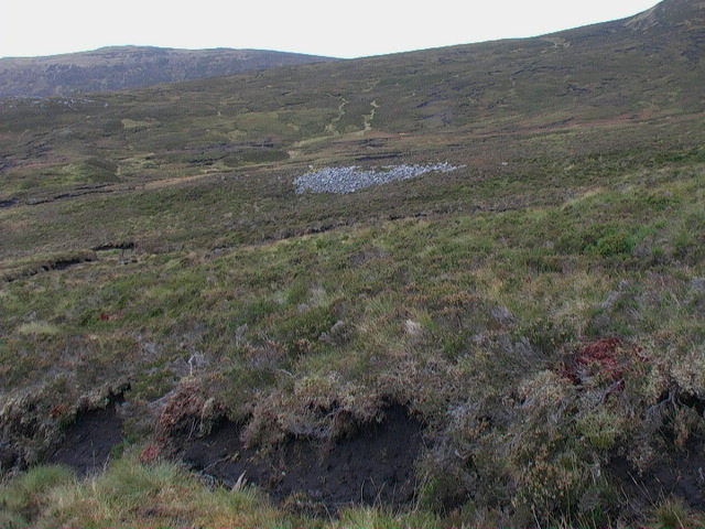 Outcrop of rocky rubble in moorland east of Garbh Meall