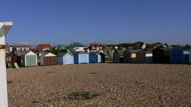Beach huts around three sides of a square