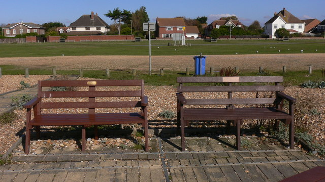 Memorial seats on South Hayling beach