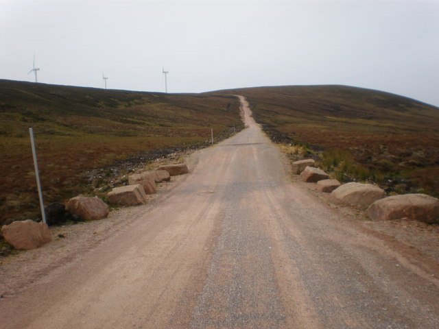 Wind Farm road going up to Meall a' Bhreacain