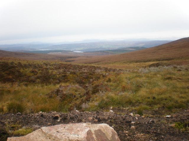 View north from Meall a' Bhreacain - Cnoc Muigh-bhlàraidh bealach