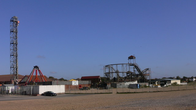 Hayling Funland and station seen from the beach to the west