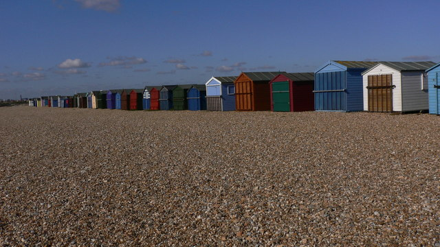 View west along the most westerly beach huts on Hayling Island
