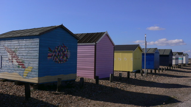 The last eight beach huts on the west of Hayling Island