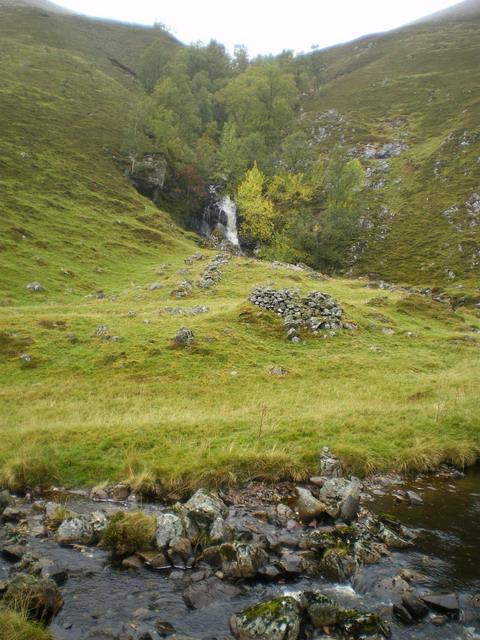 Shieling and waterfall in Glen Tilt