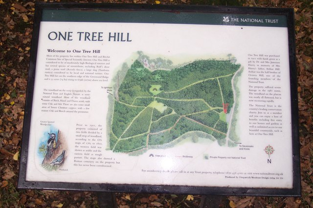 Information Board in One Tree Hill Car park