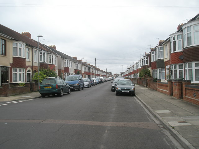 Looking westwards along Green Lane towards the Copnor Road