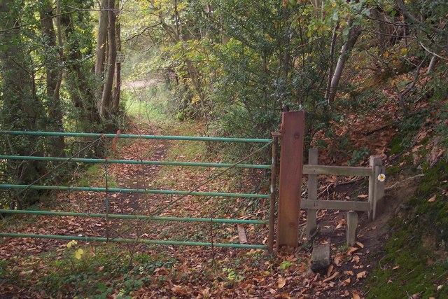 Gate and stile near Beechmont Bank