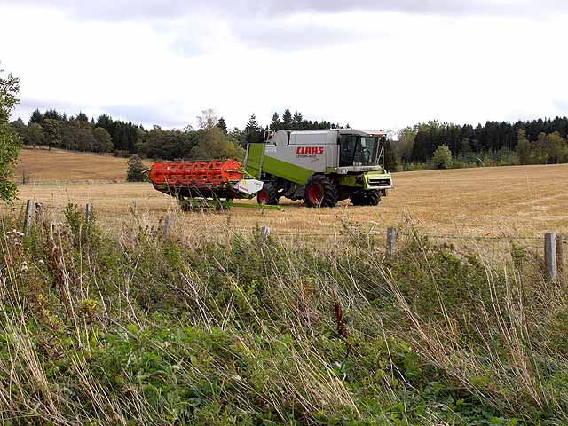 Combine harvester at Hartwoodburn