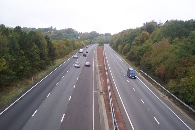 The A21 Sevenoaks By-Pass heading to Sevenoaks