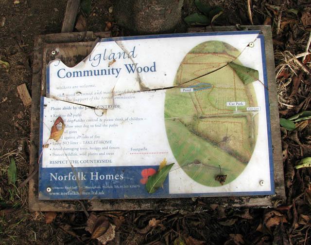 Poringland Community Wood - vandalised sign