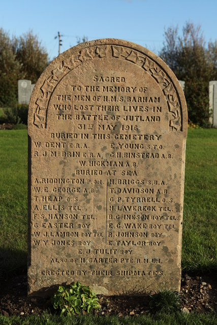 Headstone for the dead of H.M.S. Barham