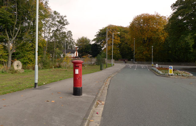 Red pillar-box on Broadway, Cheadle