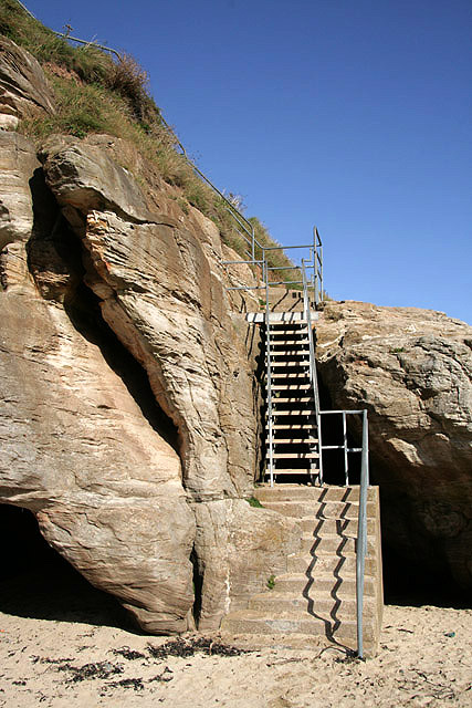 Steps onto the beach at Fisherman's Haven