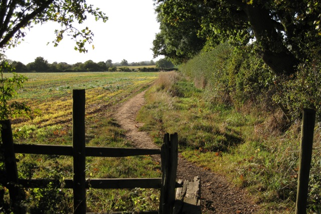 Field and part of a stile west of Bamburgh Grove, Leamington Spa