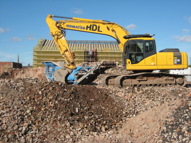 Excavator on a development site in Worcester