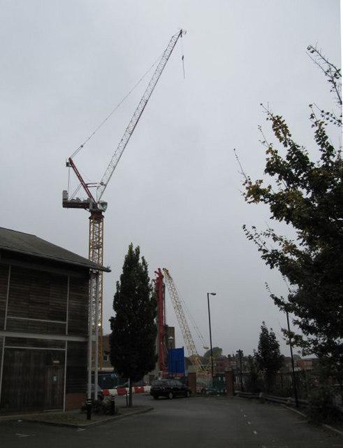 Crane across the car park