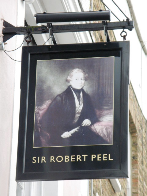 Sign for The Sir Robert Peel, Malden Road / Queen's Crescent, NW5