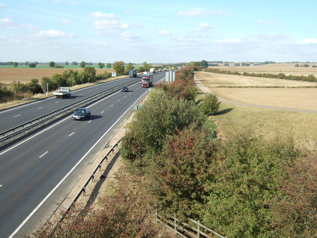 Above the A14 near Huntingdon