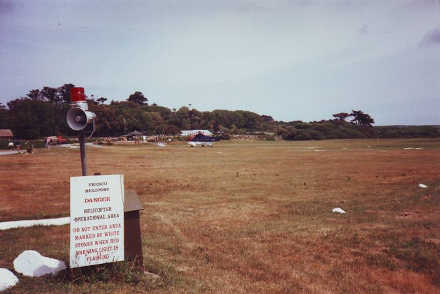 Tresco Heliport with warning sign, Isles of Scilly