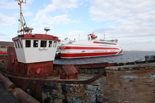 Moray Explorer and MV Pentalina at St. Margaret's Hope, Orkney