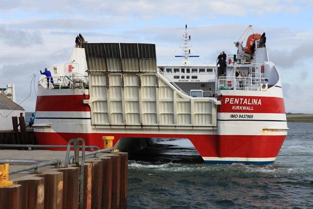 MV Pentalina docking at St. Margaret's Hope