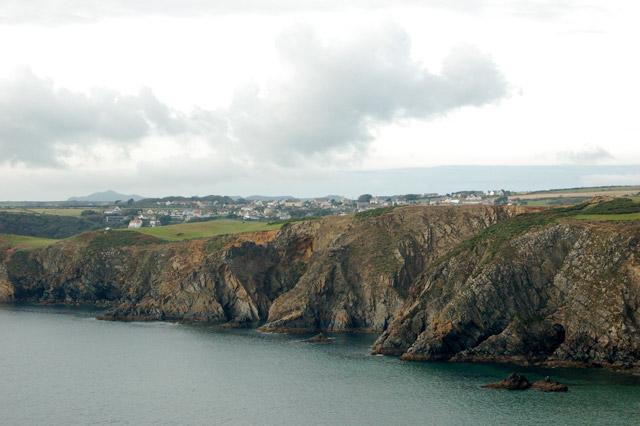 Upper Solva seen beyond the cliffs from Dinas Fawr headland