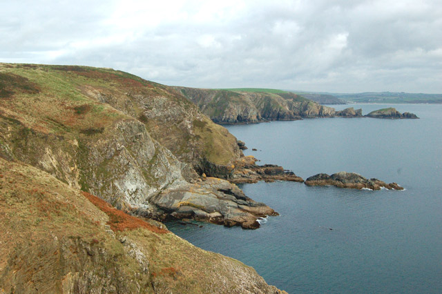 Looking east along the coast from Dinas Fawr headland