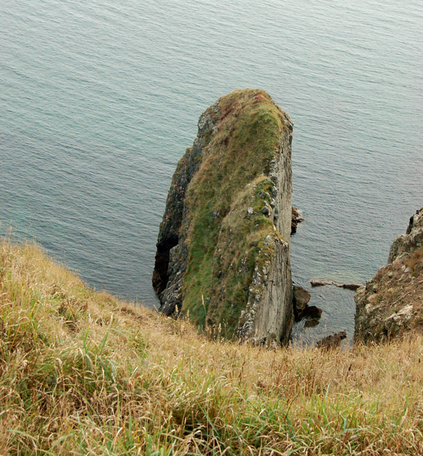 A rock outcrop on the east side of Dinas Fawr headland