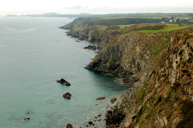 Cliffs seen from the coastpath southeast of Solva