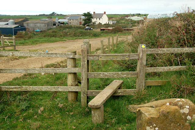 Stile on the footpath from the coast to St Elvis Farm
