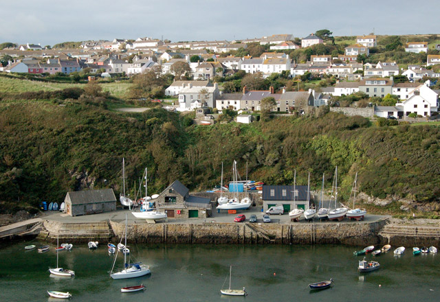 Upper Solva and Trinity Quay seen from The Gribbin ridge