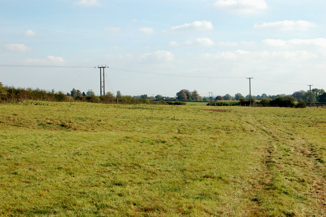 Footpath across sheep pasture north of Eathorpe