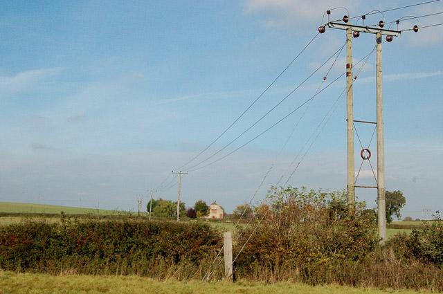 Power line heading north towards Stoneyford Barn, Marton