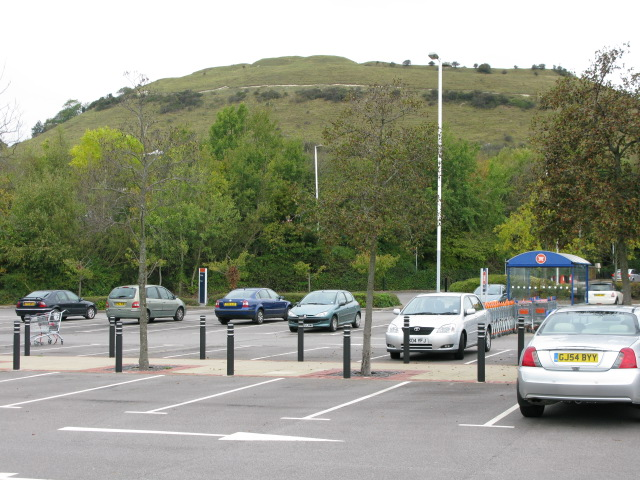 Superstore car park on the Park Farm shopping estate