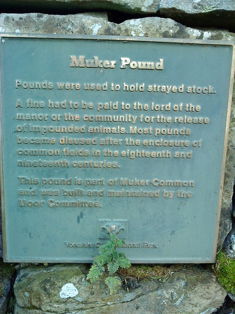 Plaque at Muker Pound