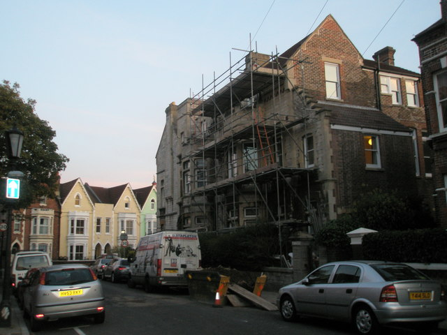 Scaffolding on house in Hereford Road