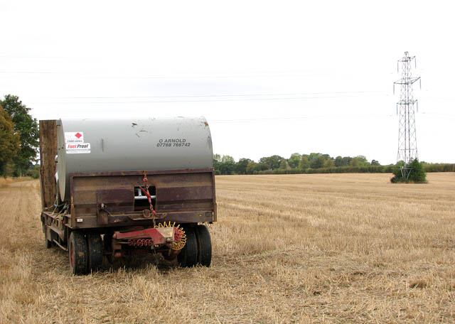 Trailer parked in stubble field