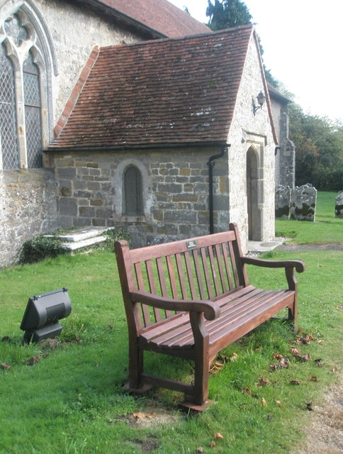 Seat by the porch at St George's, Trotton