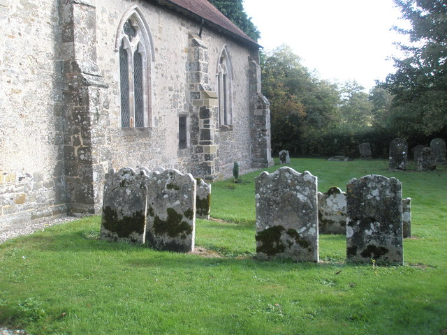 Ancient gravestones  in the churchyard at St George's, Trotton