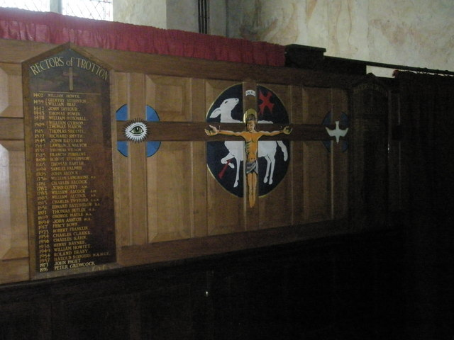 The incumbency board at St George's, Trotton