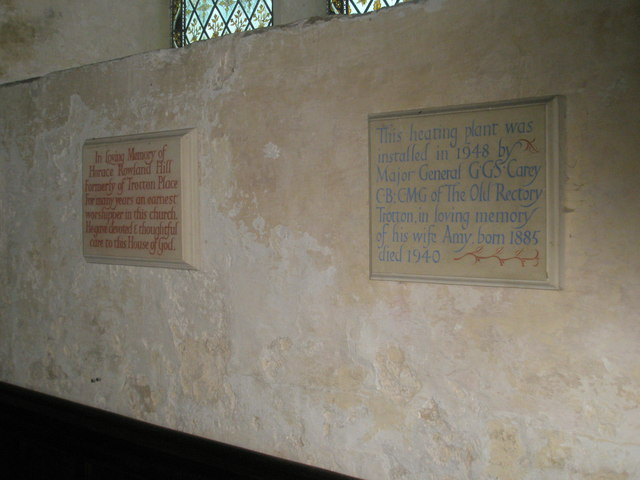 Commemorative plaques on the north wall at St George's, Trotton