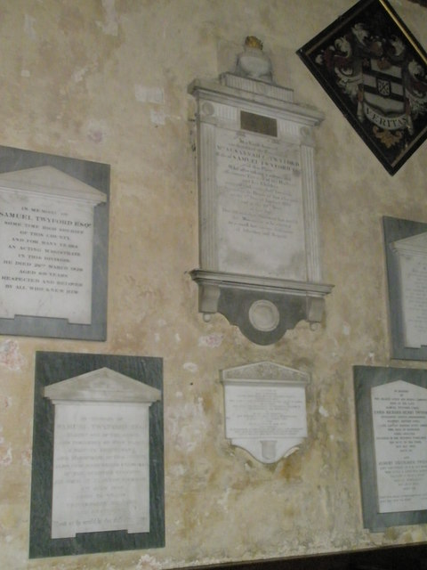Memorials on the north wall at St George's, Trotton