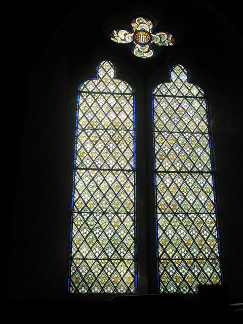 Stained glass window near the pulpit at St George's, Trotton