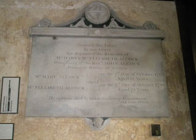 Memorial in the chancel at St George's, Trotton