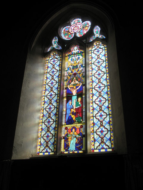 Stained glass window above the altar at St George's, Trotton