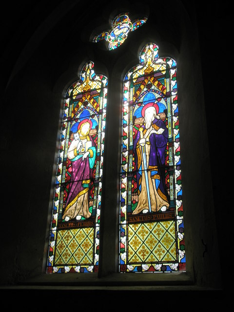 Stained glass window on the south wall of the chancel at St George's, Trotton