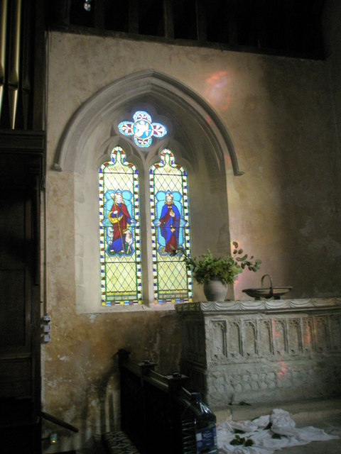 Stained glass window on the north wall of the chancel at St George's, Trotton