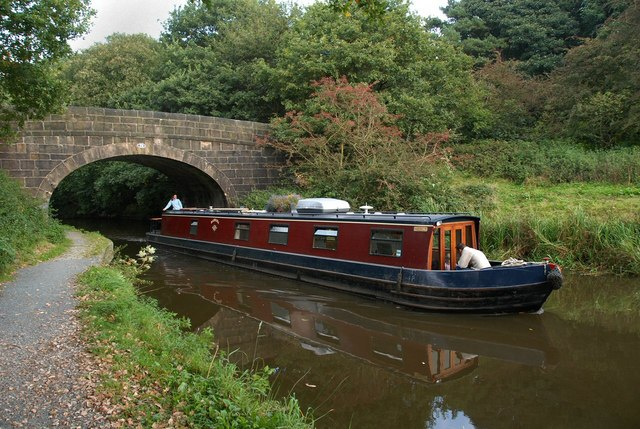 Narrow Boat emerging from bridge on Leeds Liverpool Canal